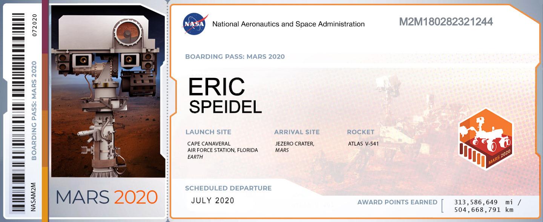 NASA Mars 2020 Rover Boarding Pass